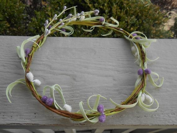 Willow Bridal Hair Wreath. Bridesmaid, Bridal Hair Accessory, Flower Girl. Rustic Decoration, Custom Orders Available.