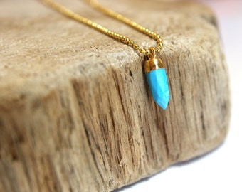 TURQUOISE bullet charm necklace