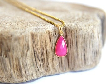 Pink CHALCEDONY gemstone charm necklace