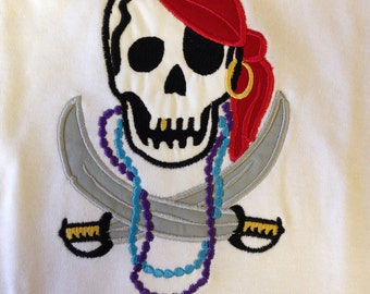 Boy or Girl pirate Shirt - Gasparilla - Infant or Toddler - Personalized - Boutique - Skull Shirt