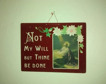 Easter Wall Hanging , 1920's , Dark Red Velvet , Religious Lithograph , Jesus , Good Friday