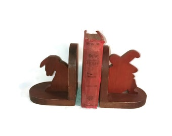 Vintage Southwestern Bookends, Mexican Man and Donkey , Wooden , Siesta