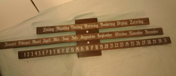 Vintage german wooden perpetual slide calendar wall - Wooden perpetual wall calendar ...
