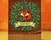 Fox Birthday Card, Fox Card, Child Birthday, Boyfriend Birthday, Girlfriend Birthday, Woodland Birthday, Forest Critter, Children Birthday
