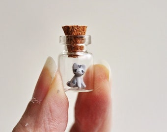 Tiny grey kitten in a bottle - miniature cat terrarium