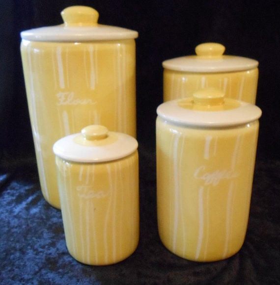 Mid century modern retro yellow kitchen canister set by for Kitchen set yellow