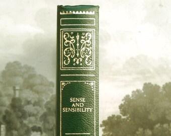 Sense and Sensibility Jane Austen book, green faux leather bound