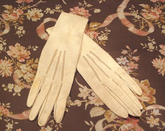 Vintage Gloves French Kid Cream Leather