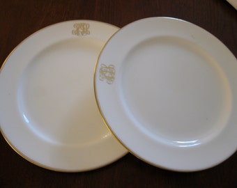 Cauldon England W.H. Plummer & Co.  Initialed Antique Dinner Plates