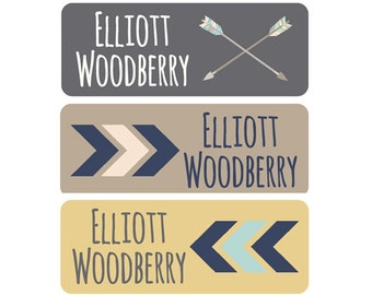 Daycare Name Labels Boy, Waterproof Name Labels, Dishwasher Safe, Baby Bottle Labels, Clothing Labels, Name Tags, Tribal, Arrow, Brown, Gray