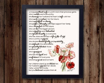 Proverbs 31 Woman- inspirational print, bible verse, scripture, Christian art print (8x10 print)