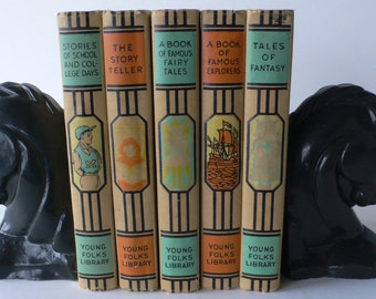 vintage books, Young Folks Library, 5 volumes 1952 from Diz Has Neat Stuff