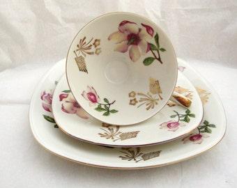 Mitterteich Bavaria Magnolia Teacup, Saucer,  Dessert Plate, Mitterteich Bavaria Porcelain, Vintage German Porcelain, Tea Service, Bavarian