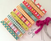 Kids Art Display. Clothesline Kit. Frame Picture. Photo Clothesline. Hanging Clips. Pins. Pegs. Clip. Summer BRIGHT Mixed #3 10 Clothespins.
