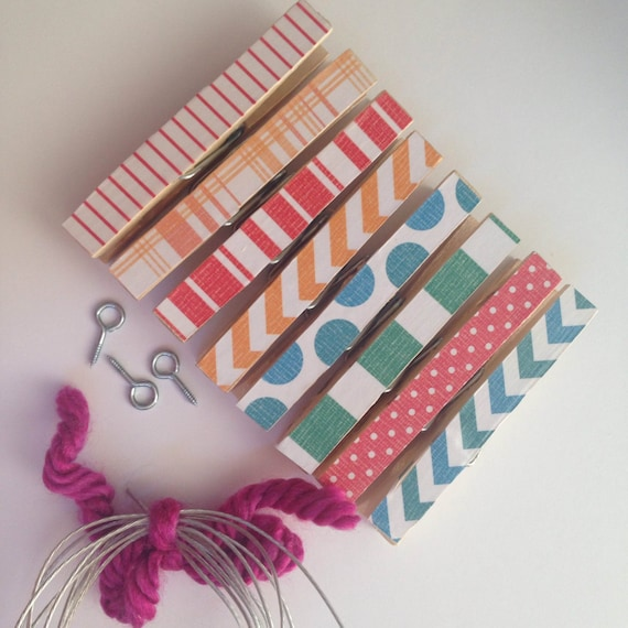 Kids Art Display. Clothesline Kit. Clothespins. Office. Chevron. Stripes. Photo Display. Photo Frame. Wall Garland. Home.