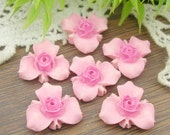 6 Pcs Beautiful Rose Cabochon Colourful,-Hand Painted Star Flower(BR-02)