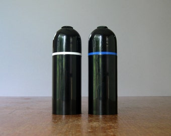 Vintage Italian Black Plastic Salt / Pepper Shaker Set