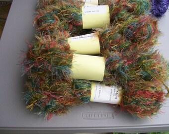 Fun Fur Yarn Rainbow Colors  #204 by Artisanal Yarns