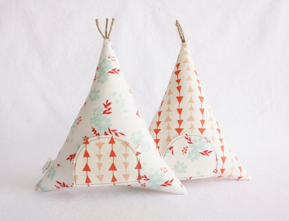 Tooth Fairy Teepee Stuffed Toy Pillow Modern Kids Coral