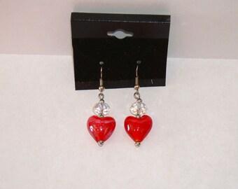 """Red Glass Heart  w/  Crystal  1"""" L. x  1/2"""" W. Earrings"""