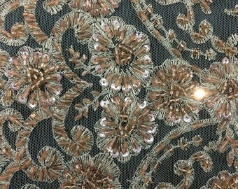 Bronze Lace Seqins Beaded High End Bridal Lace stem scalloped Dress gowns Fabric By The Yard