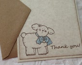 Set of 12 Flat Thank You Baby Lamb Cards With Blue Scarf and Brown Kraft Envelopes - Baby Shower - Birthday