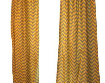 CLEARANCE Window Curtains- Pair of Drapery Panels- Premier Prints Yellow Grey Chevron Curtains- 50W x 84L inch Designer Draperies- Zig Zag