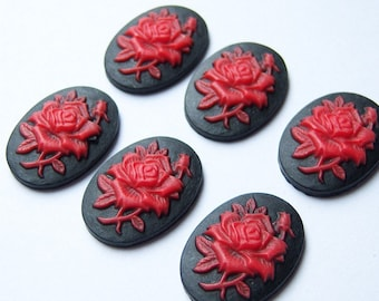8 Pcs, 18x25mm Red Rose on Black Gothic Resin Cabochons/Red Rose Cabochons/Red and Black Supplie/Red Rose Victorian Cameos