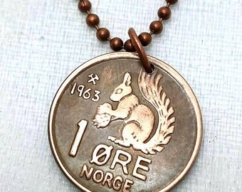 Squirrel Necklace - Coin Jewelry - Vintage SQUIRREL COIN from Norway - coin necklace - squirrel and nut - squirrel jewelry - coin pendant