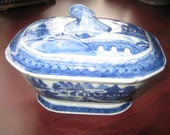 Vintage Porcelain Bowl With Lid Hand Painted