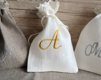 Personalized Monogramm Present Gift Wedding Bag With Embroidery
