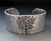 Silver Tree of Life Cuff Bracelet - Hand Stamped- Personalize It - 1 inch
