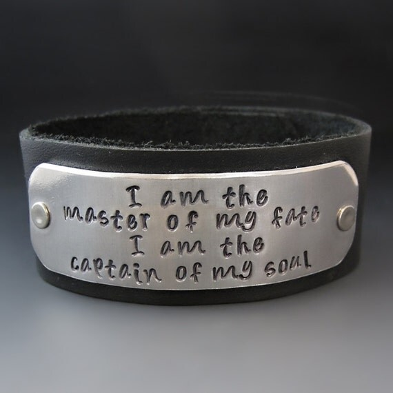 I Am The Master Of My Fate Leather Cuff Bracelet - Women's Leather Cuff