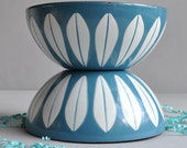 """SALE 30% OFF! Set of 2 Cathrineholm Lotus Bowls - Turquoise - 5 1/2"""""""
