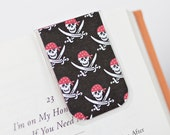Magnetic Bookmark, Laminated Bookmark, Pirate Bookmark, Skull Bookmark, Skull Swords Bandanna Red White Black