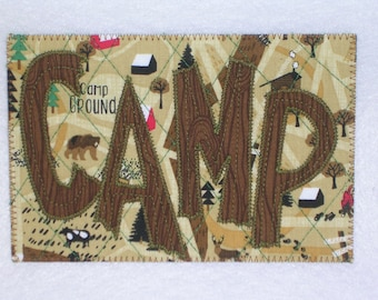 CAMP CAMPING WOODS Postcard Birthday Mom Dad Friend Frame Housewarming ThankYou Cabin Cottage Hello Kitchen Den 4x6 fabric quilted appliqued