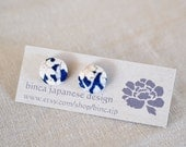 Kimono silk fabric button 12mm stud earrings, surgical stainless steel- navy, white, flower