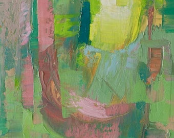 """Petrichor 93 Original oil landscape on canvas 9"""" x 12"""" x 1"""" Abstract, contemporary, red,blue,green, yellow"""