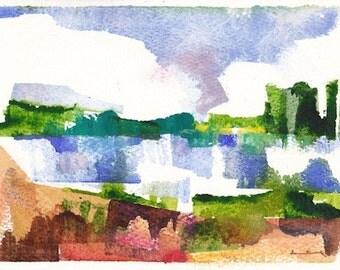 "Late spring 10, original watercolor painting 7"" x 5"""