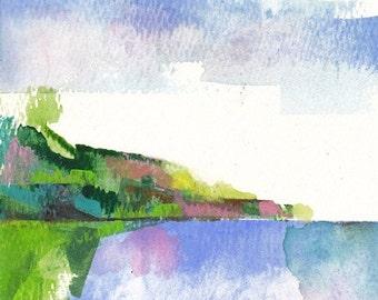 "Coast 6, original watercolor painting 5"" x 7"""