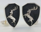"Hand Engraved ""Contest of Chairs"" House Crest Cufflinks"