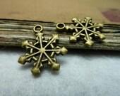 50pcs 17x20mm The Snow Antique Bronze Retro Pendant Charm For Jewelry Bracelet Necklace Charms Pendants C7735