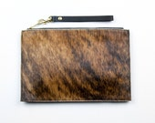 PONY Hair Clutch. Hair on Hide Clutch with Wrist Strap. Cowhide Pouch.