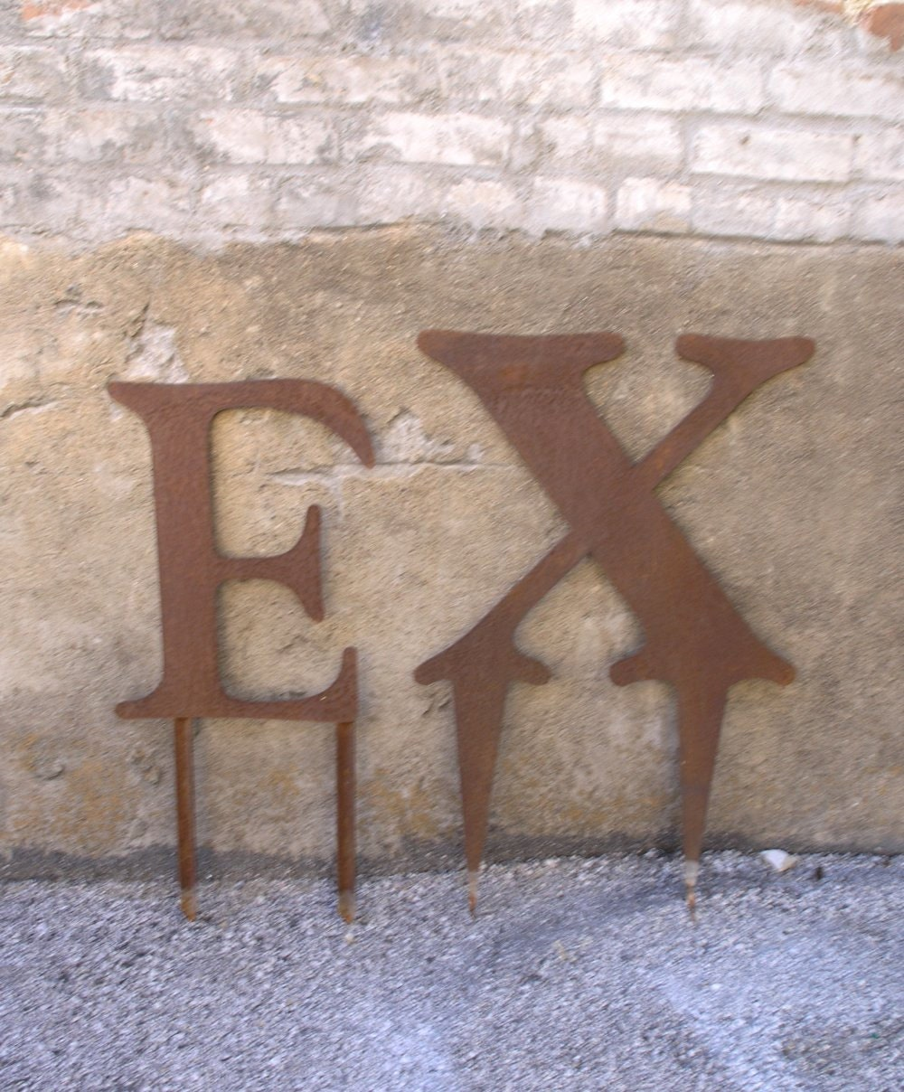 outdoor garden stake large metal letter x by industrialhabitat With large outdoor metal letters