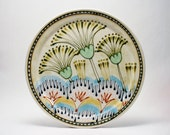 Janet Rothman Rothwoman Pottery Mid Century Contemporary Studio Ceramics Thistle Flower Decorated Plate Signed & Perfect