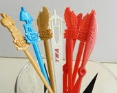 Vintage Cocktail Stirrers Swizzle Sticks TWA Trans World Airlines France Italy Hong Kong Propeller Logo Set of 8