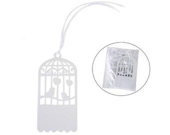 White Pearled Paper Tags Birds Cage with Satin Ribbon pcs.25