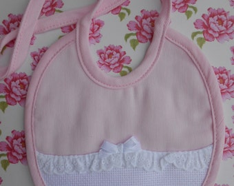 Stitchable Bib for Baby Girl Pink
