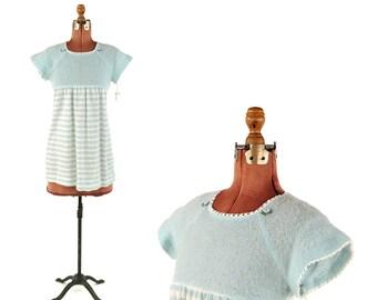Vintage 1970's Sheer Blue Pink Knit Baby Doll Mini Stripe Dolly Shift Dress S NOS