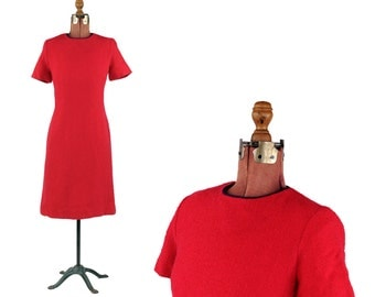 Vintage 1960's Dark Hot Pink 100% Woven Wool Knit Modern Shift Cocktail Party Dress M